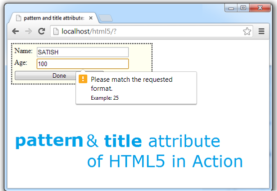 pattern title attribute html5 regular expression technotip pattern and title Attribute of Form Field: HTML5
